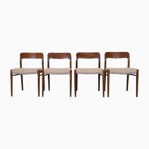 Chaises de Salon Vintage en Teck par Niels Otto Møller pour J.L. Møllers, Set de 4