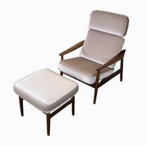 Vintage FD 164 Armchair & Footstool by Arne Vodder for France & Søn