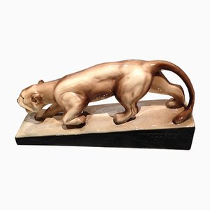 Vintage Ceramic Lion Sculpture by François Levallois