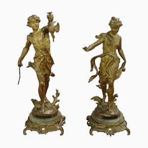 Gilded Bronze Sculptures by Ernest Justin Ferrand, 1880s, Set of 2