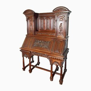 Antique Walnut Secretaire by Al. Chaput
