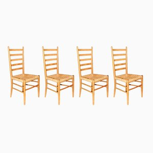 Italian Rush Seat Ladderback Chairs from Stroud Glos, 1950s, Set of 4