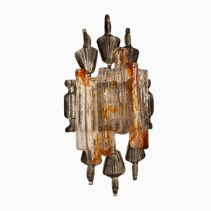 Brutalist Murano Glass Wall Lamp by Tom Ahlström & Hans Ehrich, 1970s