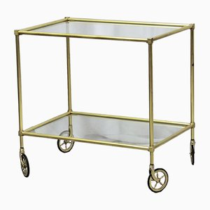 Vintage Gold-Colored Serving Bar Cart, 1960s