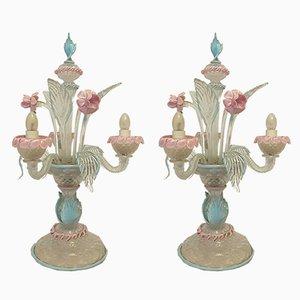 Lampes de Bureau Mid-Century en Verre Murano, Set de 2