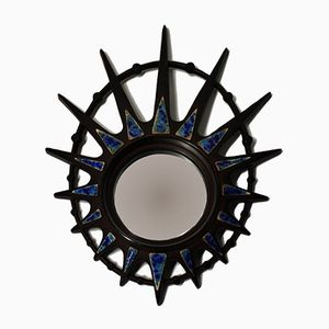 Vintage Ceramic Sunburst Mirror, 1970s