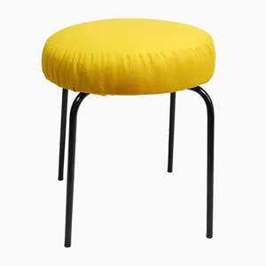 German Yellow Fabric Upholstered Stool, 1960s