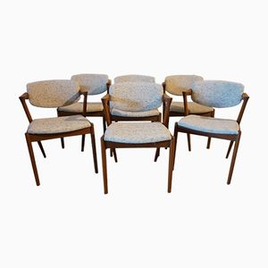 Vintage Teak Model 42 Chairs by Kai Kristiansen for Schou Andersen, Set of 6