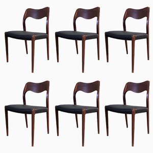Vintage Teak Model 71 Chairs by Niels Otto Møller for J.L. Møllers, Set of 6