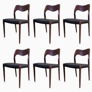 Vintage Teak Model 71 Chairs by Niels Otto Møller for J.L. Møllers, Set of 6