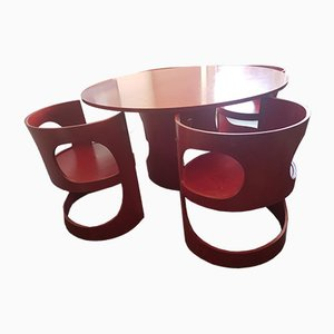 Red Preprop Dining Group by Arne Jacobsen for Asko, 1970s