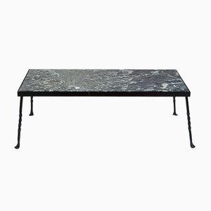 Mid-Century Wrought Iron and Marble Garden Table, 1960s
