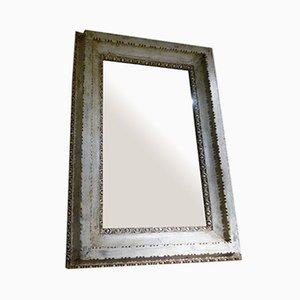Antiker französischer Spiegel mit polychromem Holzrahmen