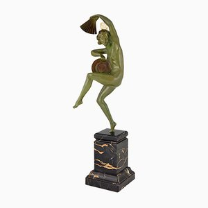 Escultura de bailarina con abanico Art Déco de bronce de Marcel Bouraine para Etling Foundry, 1925