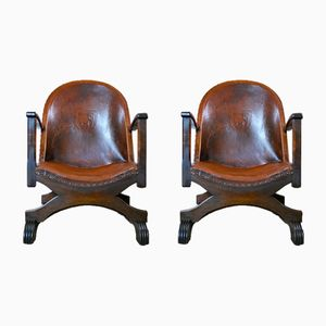 Vintage Leather Fireside Chairs, Set of 2