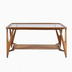 Mid-Century Cedar & Glass Coffee Table, 1950s
