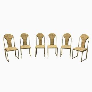 Chaises de Salon Vintage en Laiton de Belgo Chrom, 1970s, Set de 6