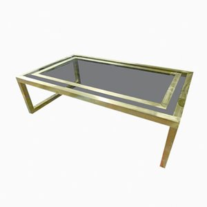 Spanish Brass & Glass Coffee Table, 1970s
