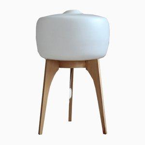 Lámpara de pie era espacial de vidrio blanco y madera, años 60