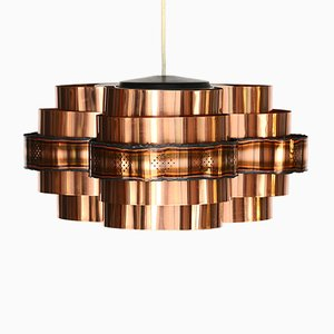 Danish Copper Pendant by Werner Shou for Coronell Electro, 1970s