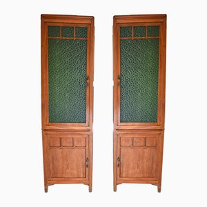 Art Nouveau Cherry & Stained Glass Modular Bookcases, 1910s, Set of 2