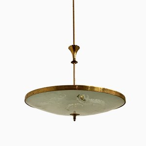 Lampada in vetro inciso di Pietro Chiesa per Stilnovo, anni '50