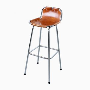 Taburete de bar Les Arcs vintage de cuero de silla de montar de Charlotte Perriand
