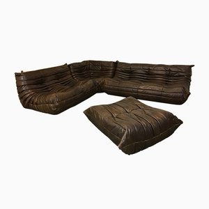 Vintage Brown Leather Togo Sofa Set by Michel Ducaroy for Ligne Roset, 1990s