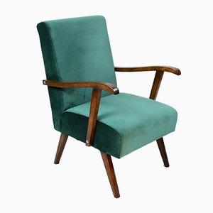 Grüner Vintage Armlehnstuhl aus Samt, 1970er