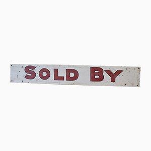 Letrero Sold de inmobiliaria vintage pintado a mano, años 60