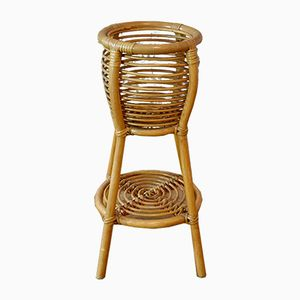 Vintage Indoor Rattan Wicker Pot Stand