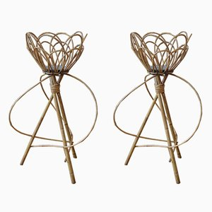 Vintage French Wicker Indoor Plant Stands, Set of 2