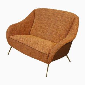 Kleines italienisches Vintage Sofa aus orangefarbenem Stoff
