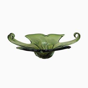Centro de mesa Mid-Century de cristal de Murano verde, 1965