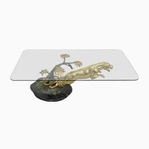 Tavolo Panther in bronzo e marmo in ottone di Maison Jansen, anni '70