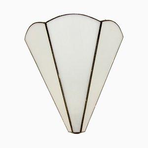 Lámpara de pared Mid-Century de vidrio teñido en blanco