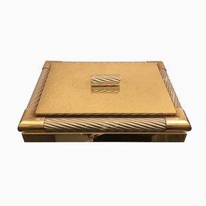 Joyero italiano Mid-Century de latón plateado y dorado, años 70