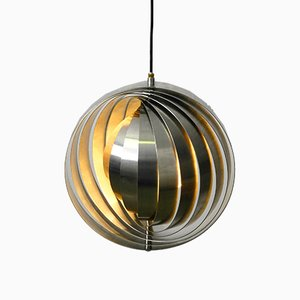 Space Age Brushed Stainless Steel Moon Lamp, 1960s