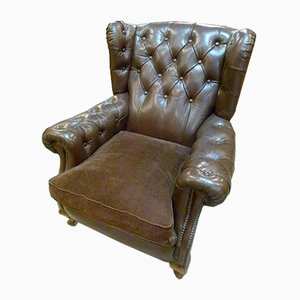 Spanish Chesterfield Wingback Armchair, 1950s