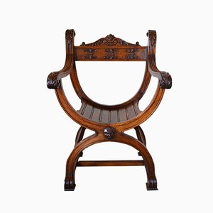 French Renaissance Revival Carved Walnut Curule or Armchair, 1880s