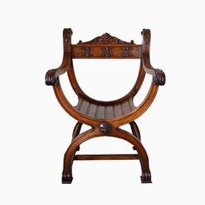 Sedia o curule Revival rinascimentale in legno di noce intagliato, Francia, fine XIX secolo