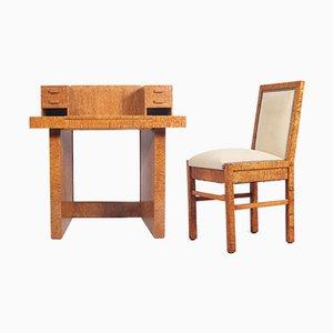Art Deco Schreibtisch & Schreibtischstuhl, 1930er
