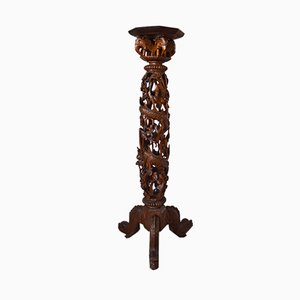 Indochinese Carved Wood Pedestal Table or Pot Stand, 1890s
