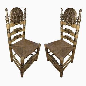 Sedie antiche barocche in legno di Ars Populis, Spagna, set di 2