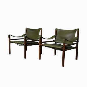 Rosewood & Green Leather Sirocco Chairs by Arne Norell for Aneby Mobler, 1964, Set of 2