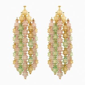 Apliques italianos Mid-Century de cristal de Murano de Gino Sarfatti para Arteluce, años 60. Juego de 2