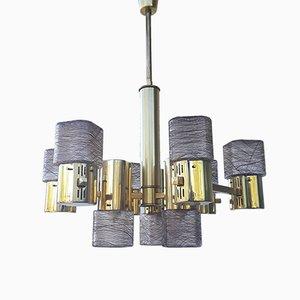 Lámpara de araña vintage de latón y cristal de Murano de Sciolari