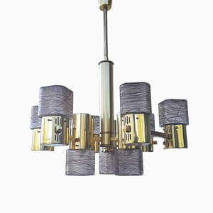 Vintage Brass and Murano Glass Chandelier from Sciolari