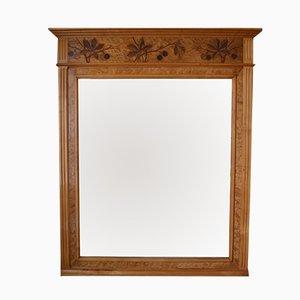 Specchio da camino Art Nouveau in legno intarsiato, Francia, anni '10