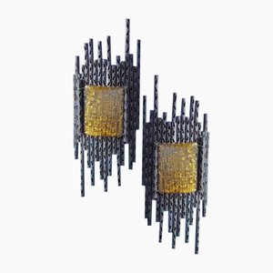 Brutalist Sculptural Wall Lamps by Marcello Fantoni, 1960s, Set of 2